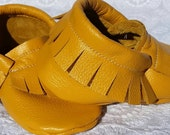 Baby mocassins,  mustard yellow, genuine leather, handmade