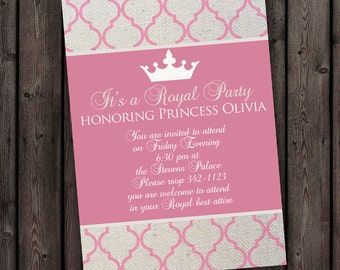 Pink gold princess invitation royal princess carriage customized quick ship color and wording customization royal princess party digital invitation stopboris Image collections
