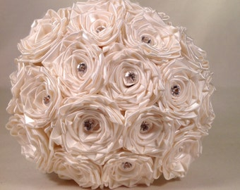 Ivory Satin Rose With Crystal Accents Bridal/Bridesmaids Bouquet