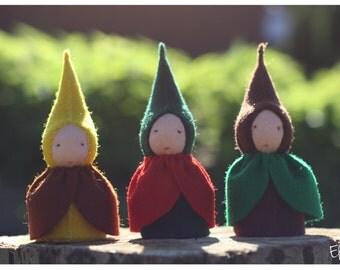 Autumn gnome - waldorf toy - wool stuffed