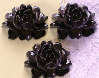 3 Pcs Inky Black Cabbage Rose Flower Cabochon - 45x35mm