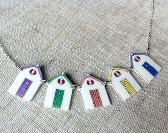 Beach hut necklace - Beach house necklace - Bunting necklace - Summer necklace - Gift for her - Rainbow necklace