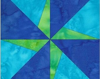 Kaleidoscope Pinwheel Paper Piece Foundation Quilting Block Pattern