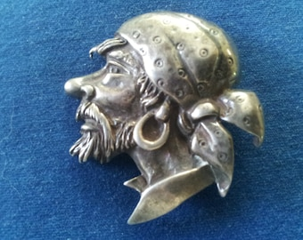 Vintage Sterling Marleen Pirate Brooch Pin, Unsigned Marleen Pirate Head Brooch Pin