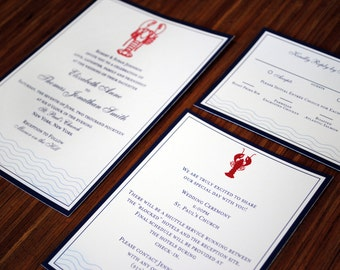 Nautical Seaside Wedding Invitation 3 Piece Suite with Red Embossed Lobster - Sample