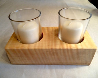 Curly maple candle holders