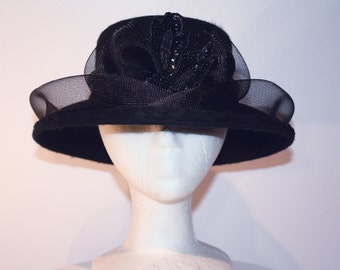 Women's Black Wool Wide Brim Hat with Bow and Sequins Design