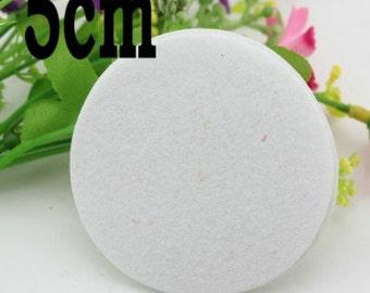 White Felt Circle 5cm - set of 20