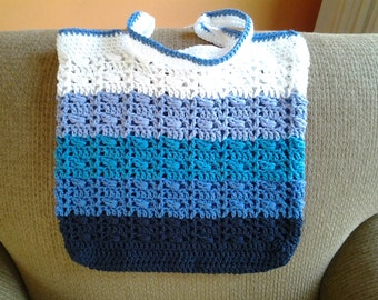 Blue Ombre Market Tote / Blue Ombre Shopping Bag / Blue Ombre Grocery Bag / Blue Ombre Tote Bag