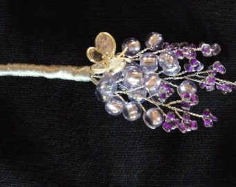 Lavender and purple buttonhole with crystal butterfly and silver ribbon. Best man, Ushers, Mother of the bride, Bridegroom