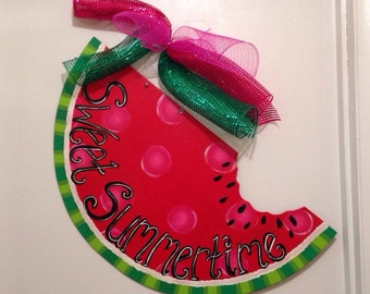 Summer door hanger,Watermelon door hanger,Personalized decor hanger,Custom door hanger,summer door sign, party door decor,