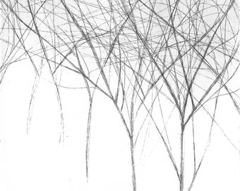 Trees, abstract landscape, original artistic engraving