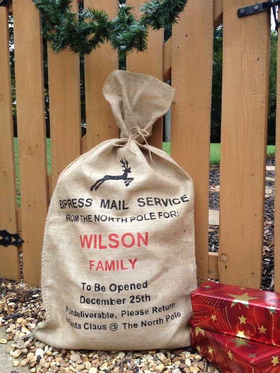 Santa Bag, Santa Sack, Burlap Christmas Stocking, Express Mail Service with Reindeer, Personalized gift bag for christmas