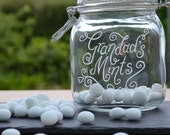 Personalised glass jar Christmas gift - sweetie jar, dog treat jar, grandads mints, shell jar, hand engraved with your message (SW01)