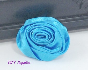 """2"""" Turquoise rolled rosettes - satin flower - rolled satin flower - wholesale flowers - fabric flower - rolled rose"""