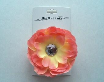 Girls Hair Flower clip, accessories, flower clip, girls hair flower, peach, yellow, children, Easter, petite hair flower, girls, wedding