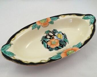 Noritake relish dish, Vintage Red M, Noritake, Vintage vanity dish, Morimura Brothers, Orange and Blue, Art Deco Noritake