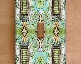 Belle Epoque Vinyl Light Switch Cover, Outlet Cover, Wallplate, Home Decor, Art Deco, Green, Aqua, Pastels, Whimsical, Steampunk, Swirls
