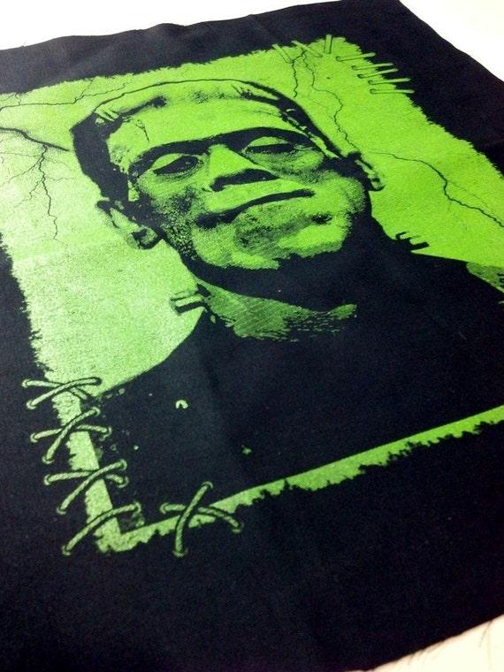 BIG Frankenstein Screen Printed Sew On Punk Patch Back Flag