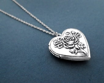 Vintage, Style, Rose, Flower, Heart, Locket, Photo, Necklace, Birthday, Friendship, Lover, Friend, Gift, Jewelry