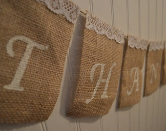 Burlap Thank You Banner, Wedding Sign, Thank You Banner, Thank You Card