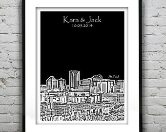 St. Paul Minnesota Wedding Gift Guest Book Guestbook Poster Print -City Skyline Minnesota MN