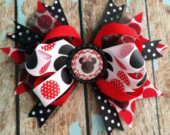MINNIE MOUSE Disney Girly Dainty Stacked Twisted OTT Boutique Bow