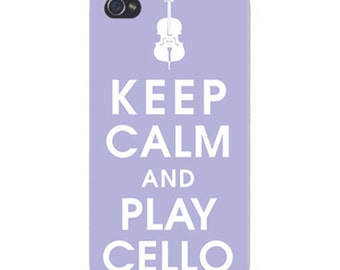 Apple iPhone Custom Case White Plastic Snap on - Keep Calm and Play Cello 0018