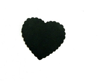 Extra Large scalloped heart die cut, Hand punched cardstock paper embellishment for diy projects in packs of 8 16 or 40 in choice of color