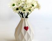 Geometric vase White ceramic with red heart decal Origami inspired Gift idea Contemporary style Home decor