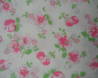 "Fat Quarter of Lecien Old New 30's Collection. Pink Floral and Cherries on Off White Background.  Approx. 18"" x 22""   Made in Japan"