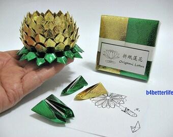 Pack Of 200 sheets Gold Color DIY Origami Lotus Paper Folding Kit for Making 2pcs Medium Size Lotus. (Metallic Foil Paper Series). #LPK-50.