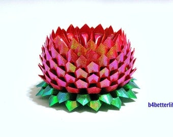 A Piece of BIG Size Red Color Origami Lotus. 154 Petals.(TX paper series).