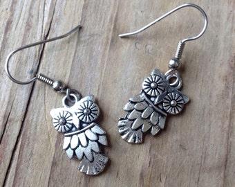 Silver owl earrings - owl dangle earrings - charm earrings - owl jewelry