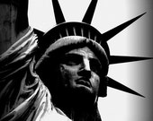 Statue of Liberty Black and White Photograph / Travel Photography / Home Decor / Wall Art / fpoe