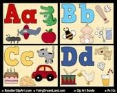 Mega Alphabet Clip Art A-Z Bundle - ABC Series - Commercial Use Digital Image Png Clipart - Instant Download - Teacher, Diy Nursery Print