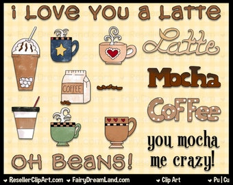 Oh Beans Digital Clip Art - Commercial Use Graphic Image Png Clipart Set - Instant Download - Coffee Mocha Latte Shop