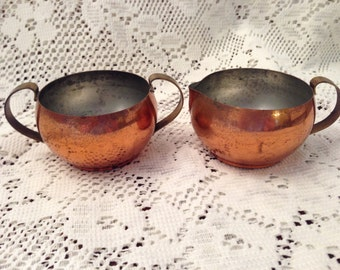 Vintage Copper Cream and Sugar Set