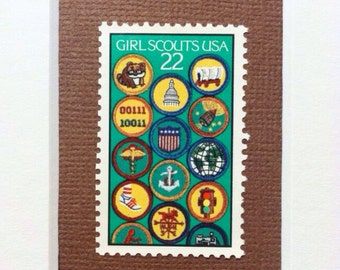 Girl Scouts USA Custom Framed Double Stamp Art.