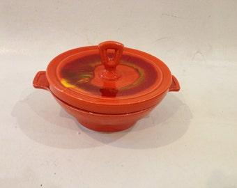 10% OFF SALE California USA pottery Ceramic casserole dish with lid. Cali original Orange