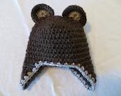 Baby boy bear hat with earlaps,bear hat, crochet earflap hat, baby bear beanie, baby beanie with earflaps