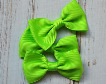 "Lime Green Tuxedo Bows 3pc - 2.5"" inch - hair accessory - bow appliques - grosgrain bows"
