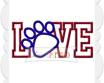 Love Pawprint Applique Embroidery Design