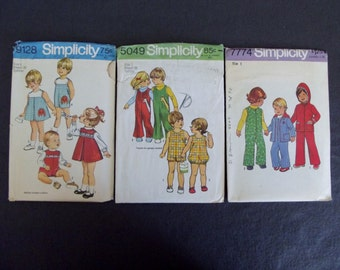 Set of 3 vintage Simplicity Children's Clothing Patterns from the 1970's, size 1
