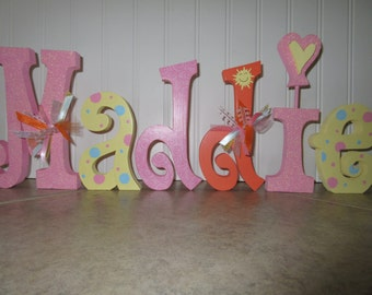 Handmade free standing letters etsy for Free standing letters for decorating