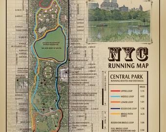 "NYC Central Park ""The San Remo & The Lake"" vintage inspired 11 x 14 running route map"