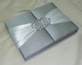 Couture, Silver Dupioni Silk, Gatefold Box Wedding & Event Invitation