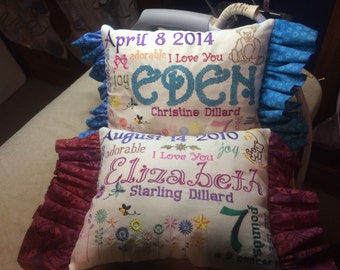 Custom Embroidery Birth Announcement Pillow - Birth Announcement