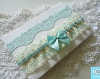 Tiffany Blue Wedding Bridal Garter, Tiffany Blue Lace Garter