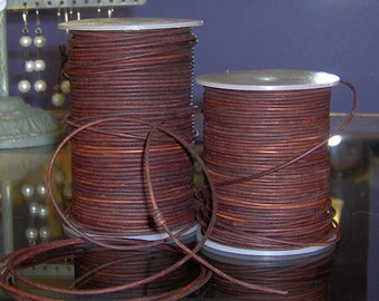 2mm natural round antique red brown leather- 25 meters/81.25 feet